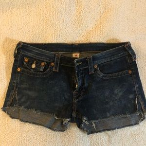 True religion cut off shorts 31 in